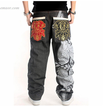 Jeans HIPHOP Jeans Printed Baggy Skateboard Pants Lucky Jeans on Sale Plus Size High Waisted Jeans