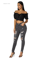 Fashion Women's Raw Hem Denim Jeans Pants on Sale