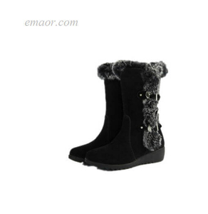 Flat Boots for Women Square Heel Women Winter Shoes Women's Black Leather Ankle Boots Snow Ladies Flat Boots Long Boots for Women