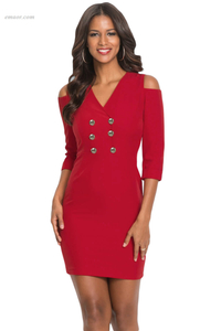 HOT Cold Shoulder Sleeved Bodycon Mini Dress On Sale