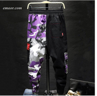 Cheap Cargo Pants Camouflage Men Patchwork Hip Hop Loose Joggers Pocket Cargo Pants