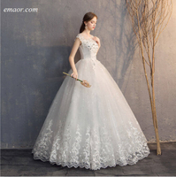 Affordable Wedding Dresses Diamond Lace Wedding Dress O-neck Beading Princess Vintage Wedding Dresses Wedding Dresses Online