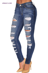 Fashion Denim Destroyed Whisker Wash Skinny Jeans on Sale