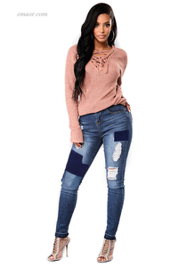 Hot Women's Dividual Patched Ripped Skinny Jeans Online