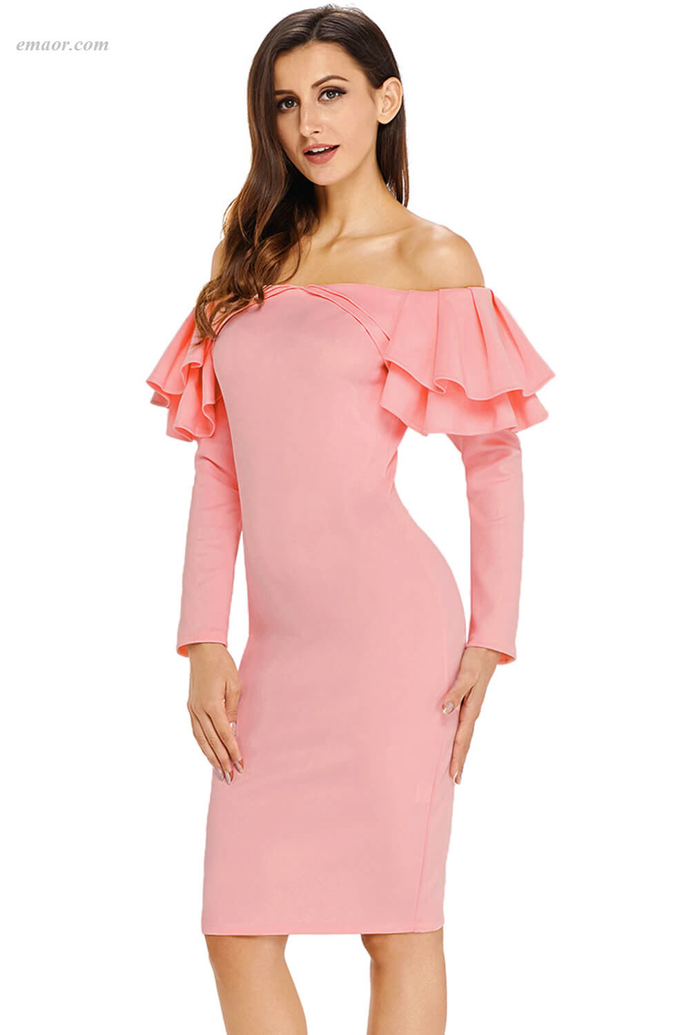Wholesale Ruffle Off The Shoulder Long Sleeve Bodycon Dress on Sale